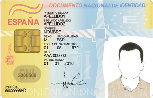 Пример удостоверения личности - DNI